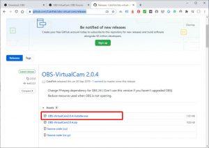 OBS-VirtualCam配布ページ