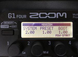 ZOOM G1 Four 新バージョン確認